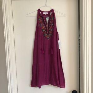 THML Roonie Embroidered Dress in Purple Medium